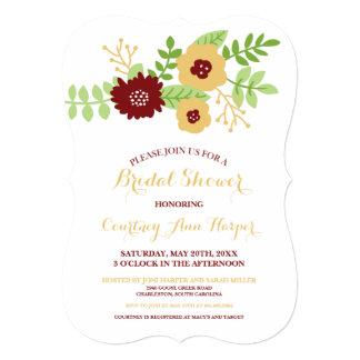 Modern Floral Bridal Shower (Gold and Burgundy) Card