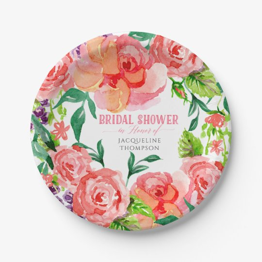 Modern Floral Bridal Shower Hot Pink Peach Coral Paper Plate