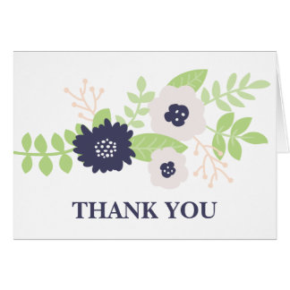 Modern Floral Bridal Shower (Navy Blue and Cream) Card