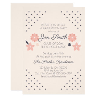 Modern Floral Chic Graduation Party Invitation. Card