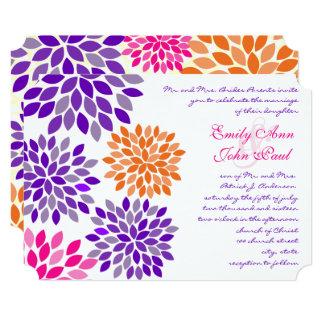 Modern Floral Chrysanthemum Wedding Invitations