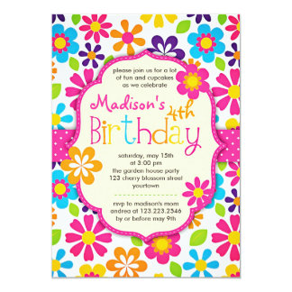 Modern Floral Colorful Spring Cute Birthday Party Card