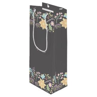 Modern Floral Custom Wedding Favor Wine Bags