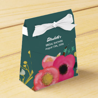 Modern Floral Design Bridal Shower Favor Boxes