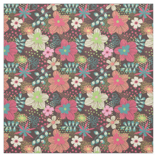 Modern Floral Design Fabric Pink and Brown Piece