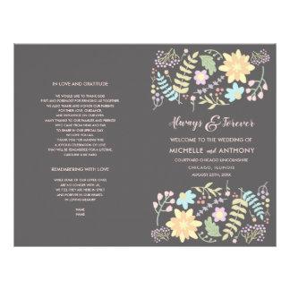 Modern Floral design Folded Wedding Program