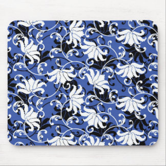 Modern Floral Design Mouse Pad - Black/Black/White