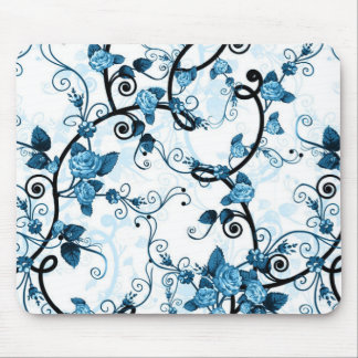 Modern Floral Design Mouse Pad - Blue/White/Black