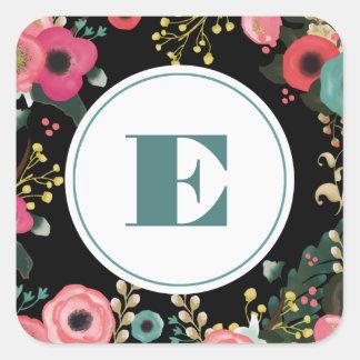 Modern Floral Design Wedding Favor Stickers