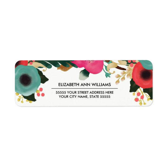 Modern Floral Design Wedding Return Address Labels