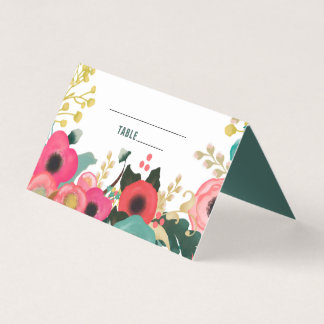 Modern Floral Design Wedding Table Place Cards