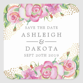 Modern Floral English Rose Gold Confetti Wedding Square Sticker