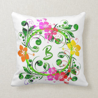 Modern Floral Flower Monogram Square Pillow
