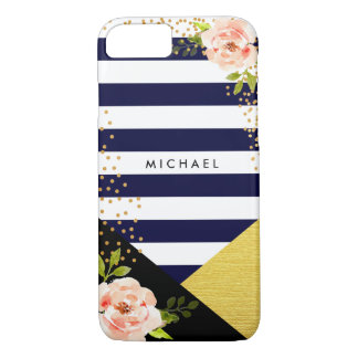 Modern Floral Gold Foil and Navy Blue Stripe Style iPhone 8/7 Case