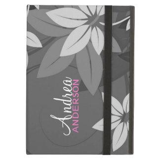 Modern Floral Gray Folio iPad Case