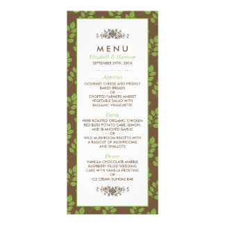 Modern Floral Greenery Leaf Wedding Menu