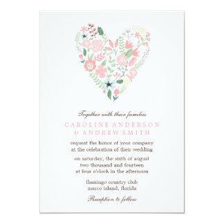 "Modern Floral Heart Wedding 5"" X 7"" Invitation Card"