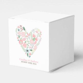 Modern Floral Heart Wedding Favor Box