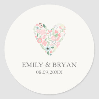 Modern Floral Heart Wedding Sticker