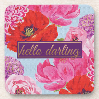Modern Floral Hello Darling Square Coaster