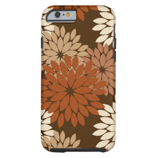 Modern Floral Kimono Print, Chocolate Brown Tough iPhone 6 Case