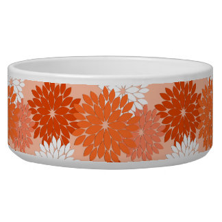 Modern Floral Kimono Print, Coral Orange on Peach
