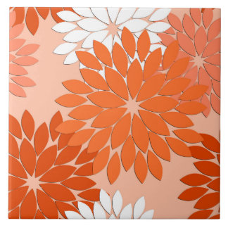 Modern Floral Kimono Print, Coral Orange on Peach Ceramic Tile