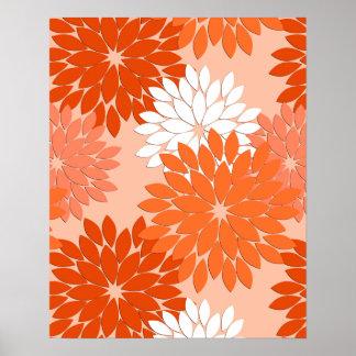 Modern Floral Kimono Print, Coral Orange on Peach Poster