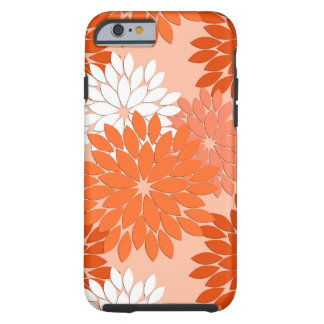 Modern Floral Kimono Print, Coral Orange on Peach Tough iPhone 6 Case