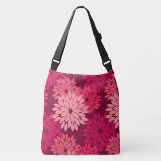 Modern Floral Kimono Print, Coral Pink & Burgundy Crossbody Bag