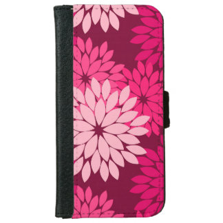 Modern Floral Kimono Print, Coral Pink & Burgundy iPhone 6 Wallet Case