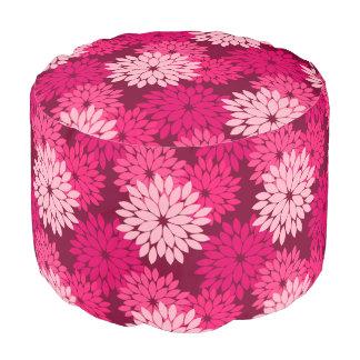 Modern Floral Kimono Print, Coral Pink & Burgundy Pouf