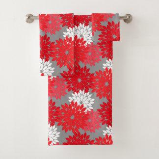Modern Floral Kimono Print, Coral Red and Gray Bath Towel Set
