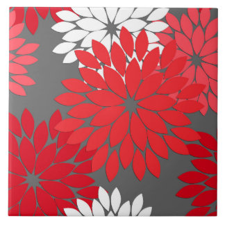 Modern Floral Kimono Print, Coral Red and Gray Ceramic Tiles
