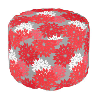 Modern Floral Kimono Print, Coral Red and Gray Pouf