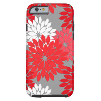 Modern Floral Kimono Print, Coral Red and Gray Tough iPhone 6 Case