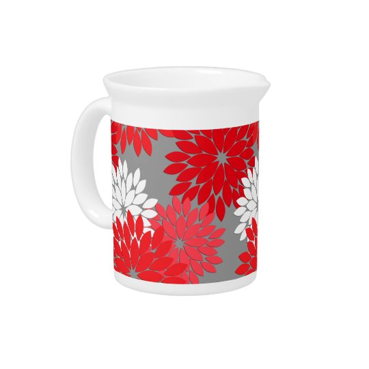 Modern Floral Kimono Print, Coral Red and Grey Beverage Pitcher