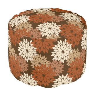 Modern Floral Kimono Print, Dark Brown and Tan Pouf