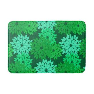 Modern Floral Kimono Print, Emerald and Jade Green Bath Mat
