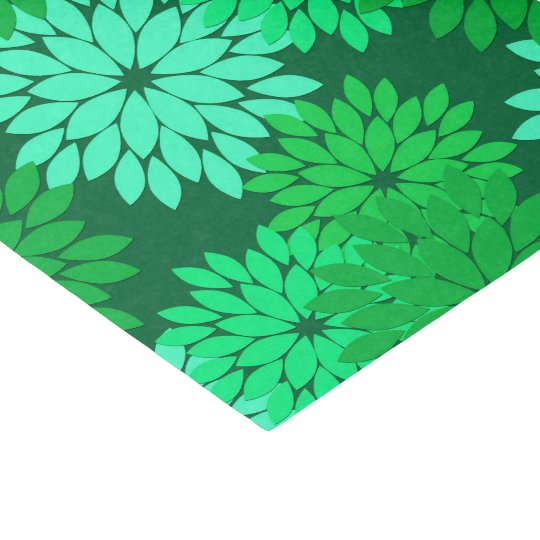 Modern Floral Kimono Print, Emerald and Jade Green Tissue Paper