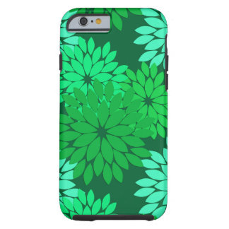 Modern Floral Kimono Print, Emerald and Jade Green Tough iPhone 6 Case