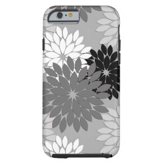 Modern Floral Kimono Print, Gray, Black and White Tough iPhone 6 Case