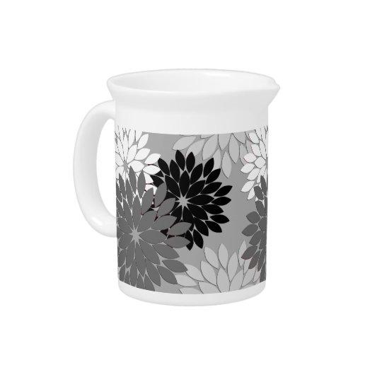 Modern Floral Kimono Print, Grey, Black and White Beverage Pitcher