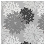 Modern Floral Kimono Print, Grey, Black and White Fabric
