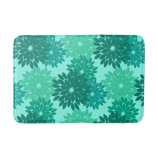 Modern Floral Kimono Print, Turquoise, Teal & Aqua Bath Mat