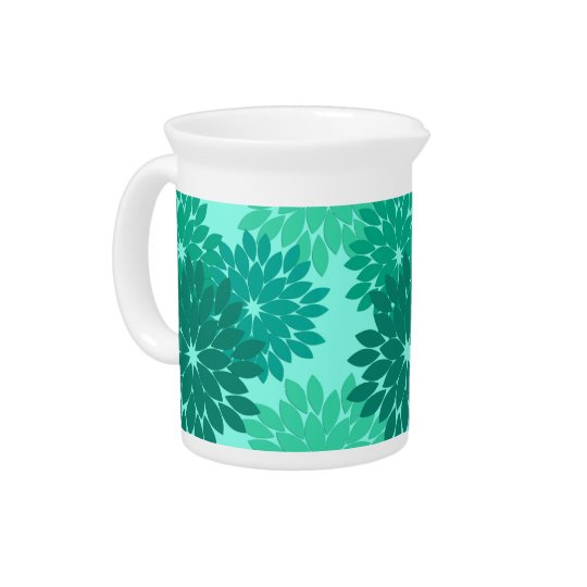 Modern Floral Kimono Print, Turquoise, Teal & Aqua Drink Pitchers