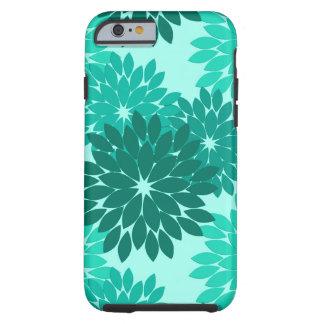 Modern Floral Kimono Print, Turquoise, Teal & Aqua Tough iPhone 6 Case