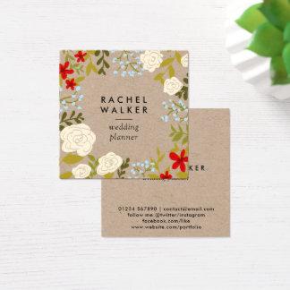 Modern floral kraft square planner business card