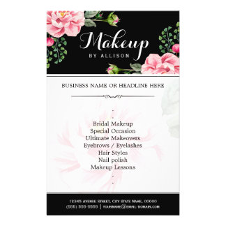 Modern Floral Makeup Script Black White Flyer