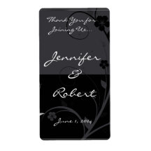 Modern Floral Medallion in Black and Grey Wine Lab Personalized Shipping Label